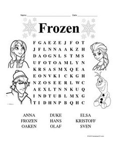 Frozen theme word search for fun reinforcer Frozen Activities, Activities For 5 Year Olds, Disney Activities, Educational Activities, Learning Activities, Kids Learning, Disney Word Search, Kids Word Search, Activity Sheets For Kids