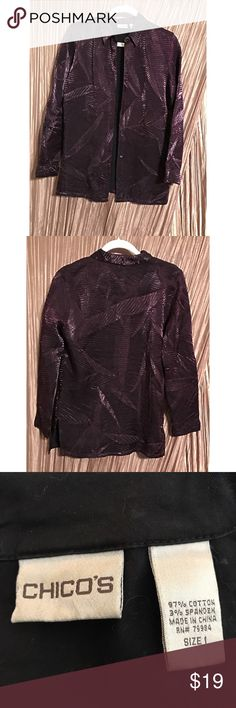 """Classy Chico's Burgundy Blouse size 0 (4) Classic Chico's Burgundy Blouse size 0 (4)  Wear open as a light jacket or closed as a blouse.  75% rayon 25% polyester   Measurements:  Bust 19"""" (armpit to armpit), Sleeves 23"""" (shoulder seam down), Length 26.5"""" (bottom of back collar down).  From a pet-free / smoke-free home.  To ensure a good fit, please measure a favorite blouse and check your measurements against item info. Chico's Tops Blouses"""