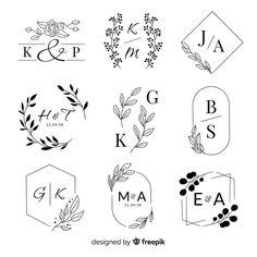 Collection of wedding monogram logos Free Vector Wedding Logo Design, Wedding Logos, Monogram Wedding, Wedding Monograms, Wedding Labels, Logo Floral, Monogram Design, Monogram Maker, Free Monogram