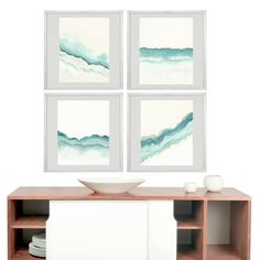 Set of Four Coastal Watercolor Prints Abstract by AwakeYourSoul