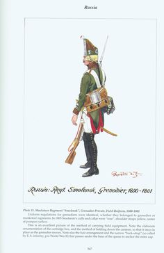 "Russia: Plate 11. Musketeer Regiment ""Smolensk"", Grenadier Private, Field Uniform, 1800-1801"