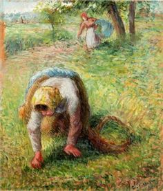 Peasants Gathering Grass - Camille Pissarro