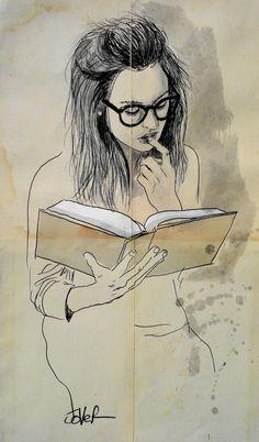 "Saatchi Online Artist: Loui Jover; Pen and Ink 2013 Drawing ""book"""