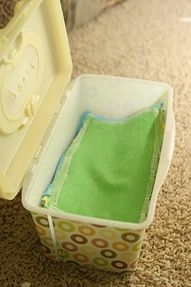 Re-usable baby wipes (flannel; Dr. Bronner's; tea tree oil)