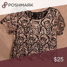 1 LEFT!!! - Boxy Lace Black and Gold Top Boxy black and gold Lace top Tops