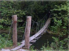 walking swing bridge | Swinging Wood Bridge adjacent to The Riverfront Cottage. Old Swinging ...