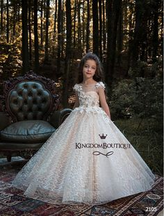 The Parma Flower Girl Dress For Wedding by MB Boutique Canada. This beautiful satin ball gown features squared neckline and floral lace appliques embellished with crystal rhinestones. , worldwide shipping from Canada Girls Party Dress, Birthday Dresses, Baby Dress, Girls Dresses, First Communion Dresses, Baptism Dress, Christening Gowns, Tulle Flower Girl, Tulle Flowers