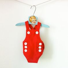 1bedfa5ff9e7 Items similar to Retro Baby Red Romper