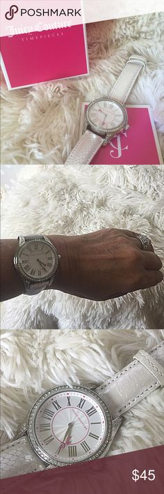 Juicy Couture Watch Off White Reptile Band Silver Watch with Crystal Set bezel. 38MM stainless steel, water resistant. BuckleWorn 1x, with box and warranty/info book. Juicy Couture Accessories Watches