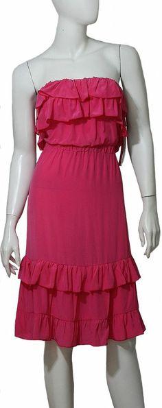 Hale Bob Dress NWT Sz Small Pink Strapless 100% Silk Ruffled Bodice and Hem