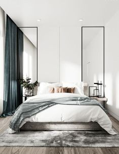 Grey Bedroom Ideas - Leading 10 Relaxing Grey Bedroom Ideas that You Will Certainly Adore. Top 10 Fascinating Grey Bedroom Ideas for Sweet Dreams. A Crisp and also Classy Design Bedroom with Tidy Blac Modern Bedroom Design, Contemporary Bedroom, Home Interior Design, Modern Minimalist Bedroom, Modern Master Bedroom, Modern Bedrooms, Bedroom Design Minimalist, Minimalist Decor, Beds Master Bedroom