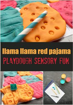 Llama Llama Red Pajama Playdough Sensory Fun for Kids featuring book activity ideas from the Virtual Book Club for Kids