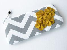 Clutch bag/ clutch purse/ gray white chevron/ yellow felt flowers/ chevron clutch