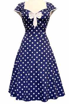 Navy Polka Dot Isabella Dress : Lady Vintage - I would take the bow off though