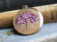 Pink Botanical Necklace Spirea Plant Pressed Flowers Resin Antique Brass Chain