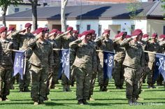 Soldiers from the 173rd Airborne Brigade Combat Team salute during a casing of the colors ceremony at Caserma Ederle in Vicenza, Italy, June 14, 2012, before their deployment to Afghanistan. A unit from the 173rd, Company C, 2nd Battalion, 503rd Infantry Regiment, is going to Cameroon in mid-March to participate in an annual U.S. Army Africa exercise called Central Accord. (Kent Harris/Stars and Stripes) #soldiers #Africa #military
