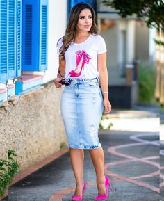 Faldas jeans Modest Outfits, Classy Outfits, Modest Fashion, Skirt Fashion, Chic Outfits, Fashion Outfits, Fashion Clothes, Denim Skirt Outfit Summer, Denim Skirt Outfits