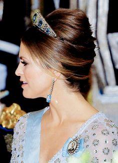 Princess Madeleine of Sweden wearing the Aquamarine Kokoshnik.