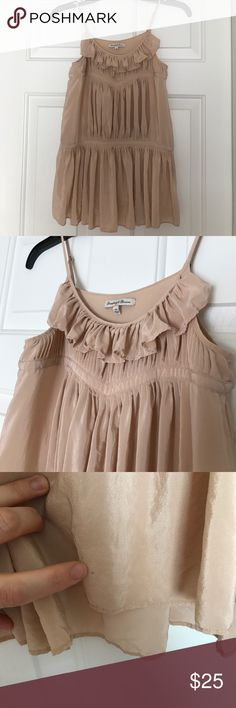 Broadway & Broome silk peplum cami Super feminine blush silk cami with adjustable straps and gorgeous pleating and ruffled details. Tiny spots and runs as pictured but they are not very noticeable as they are on the back and bottom of hem. Sadly it's too small for me now Madewell Tops