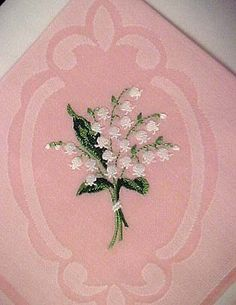 Swiss Handkerchief, Lily of the Valley Embroidery