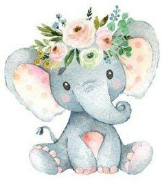 Untitled Baby Elephant Drawing, Elephant Nursery Girl, Elephant Canvas, Elephant Theme, Elephant Baby Showers, Cute Elephant, Baby Boy Shower, Clipart Baby, Illustration Inspiration