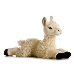 Cream Plush Llama by Aurora From Stuffed Safari ($12) ❤ liked on Polyvore featuring stuffed animals and toys