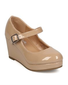 Soda EF38 Patent Round Toe Platform Mary Jane Wedge Pump (Little Girl/ Big Girl) - Dark Beige * More infor at the link of image  : Girls sandals