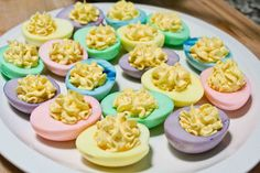 The BEST Spring & Easter Food Ideas - Easter Pastel Deviled Eggs…these are the BEST Easter Food Ideas! Easter Pastel Deviled Eggs…the - Colored Deviled Eggs, Easter Deviled Eggs, Colored Eggs, Holiday Treats, Holiday Recipes, Easter Treats, Easter Food, Easter Party, Easter Snacks