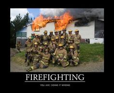 I support him in his goals providing, he will  be a firefighter other than in this picture. ( NO WATER??)