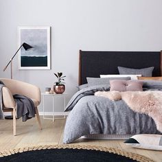 Gorgeous! #bedroom #decor #Scandi #peach #grey #home #interior