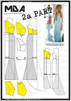 Sewing pattern / Dress part Techniques Couture, Sewing Techniques, Diy Sewing Projects, Sewing Tutorials, Dress Sewing Patterns, Clothing Patterns, Pattern Dress, Fashion Sewing, Diy Fashion