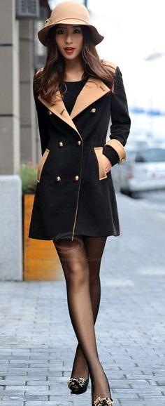 fall/winter style  | Black & Tan, color block.  dresslily.com