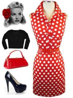 currently in stock at www.lebombshop.net  pinup, rockabilly, vlv, sun dress, collared neck, button bust with rouched details, sleeveless, belted, red & white polka dot print, wiggle dress
