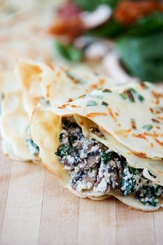 Green Onion Parmesan Crepes with Ricotta, Spinach, Bacon & Mushroom Filling