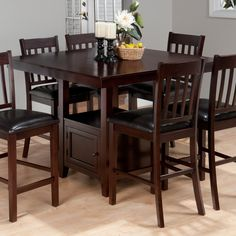 "Jofran Tessa Counter Height Dining Table with Storage - 48 "" x 48"""
