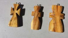 Wormy maple crosses carved by Bethany Mcdonald