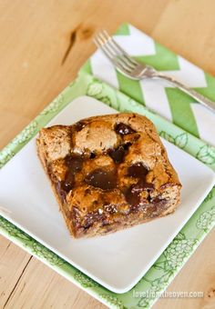 Chocolate Chunk Caramel Cookie Butter Bars.  So much good stuff in one dessert!