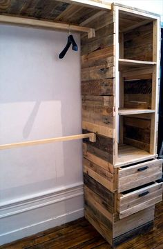 handcrafted pallet wardrobe or closet