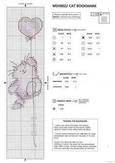 Chart for MSH002 bookmark (Cat with balloon) using Anchor stranded cotton - 2 of 3