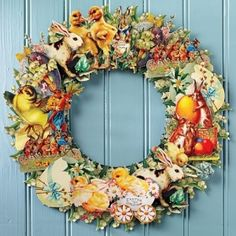 vintage card wreath. Could so with Christmas cards or valentines....