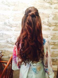 Bridesmaid hair. Long brunette loose curls long lengths