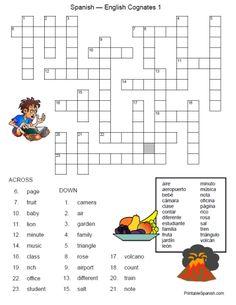 FREE Spanish-English Cognates Crossword 7 from
