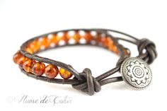 Baltic amber leather wrap bracelet