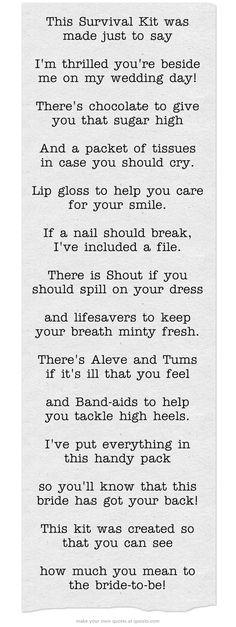Survival Kit Poem for bridesmaids