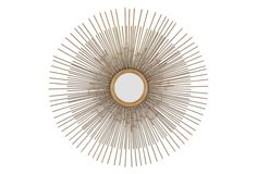 Crafted of metal with a rusted gold finish, this mirror's sunburst design offers a wonderful sense of dimension thanks to its multiple layers.Passionately traveling the world for inspiration, the...