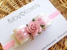 Baby/Girl Pink Bow, Pink Headband, Pink White Wedding Bow/Headband, Wedding…