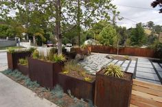 variety of pavers with mulch