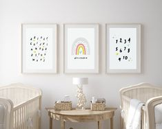 Nursery wall decor and nursery ideas from Sunny and Pretty. Baby girl nursery wall art full of rainbows, hearts, stars, and cuteness. Nursery art and nursery prints to complete your nursery decor project. Our nursery wall art is made with love and is designed to reflect your nursery wall decor style. 🖤 Get excited about decorating for your little one! #sunnyandpretty Nursery Artwork, Nursery Wall Decor, Baby Room Decor, Nursery Prints, Nursery Ideas, Moon Nursery, Girl Nursery, Rainbow Print, Rainbow Baby