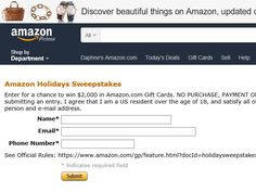 Enter The Amazon.com Holiday Sweepstakes for a chance to win a $2,000 Amazon.com Gift Card!