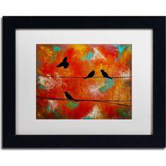 """Trademark Fine Art """"Birds of Flight"""" Canvas Art by Nicole Dietz, White Matte, Black Frame, Archival Paper"""